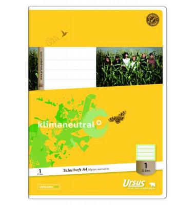Schulheft Din A4 Lineatur 1 (1. Klasse) Kontrastlineatur 32 Blatt