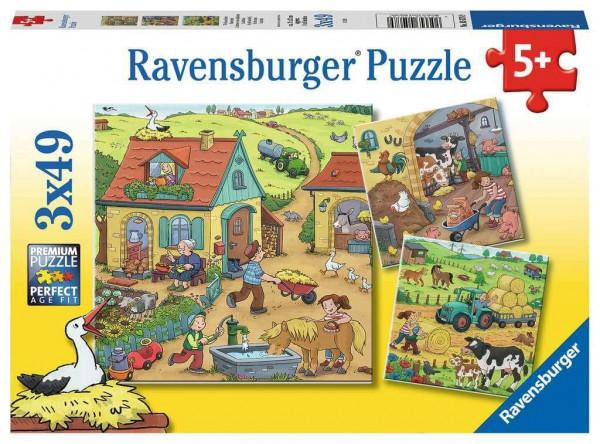 Viel los auf dem Bauernhof, Puzzle, 3 x 49 Teile