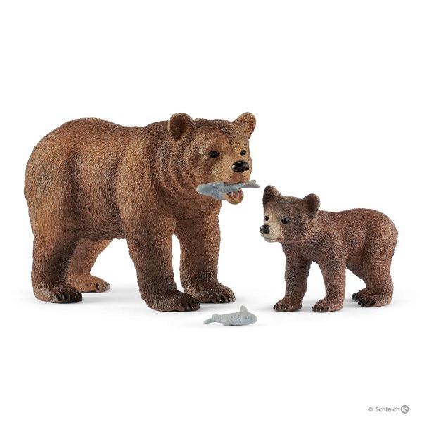 Grizzlybär-Mutter mit Jungem
