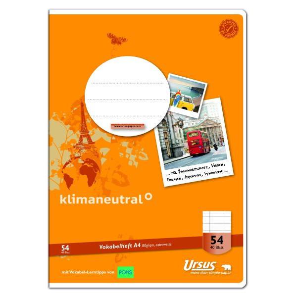 Ursus Vokabelheft Basic A4 Lineatur 54 liniert 3 Spalten weiß 40 Blatt