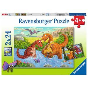 Spielende Dinos, Puzzle 2 x 24 Teile