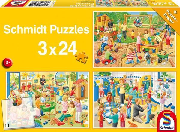 Ein Tag im Kindergarten, Puzzle, 3 x 24 Teile
