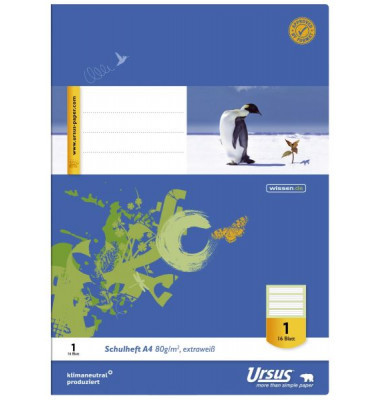 Schulheft Lineatur: LIN1 5/5/5mm liniert - 1. Schuljahr • 80 g weiß • 16 Blatt
