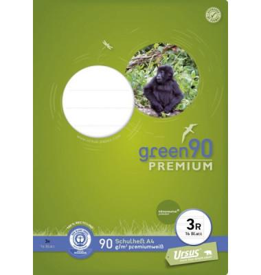 Ursus Schulheft green A4 Lineatur 3r liniert mit Rand weiß 16 Blatt