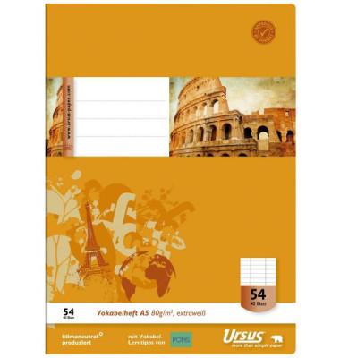 Ursus Vokabelheft Basic A5 Lineatur 54 liniert 3 Spalten weiß 40 Blatt