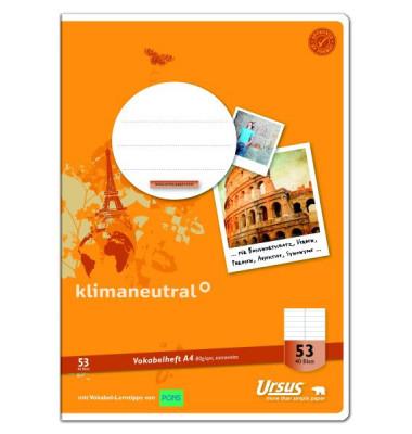Ursus Vokabelheft Basic A4 Lineatur 53 liniert 2 Spalten 40 Blatt