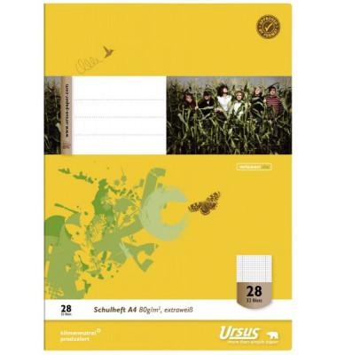 Ursus Schulheft Basic A4 Lineatur 28 kariert mit Rand weiß 32 Blatt