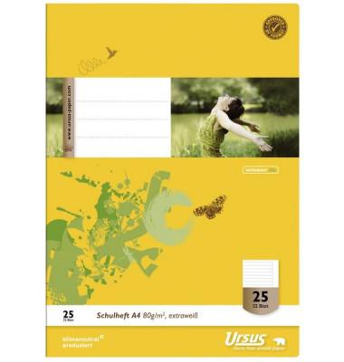 Ursus Schulheft Basic A4 Lineatur 25 liniert mit Rand weiß 32 Blatt