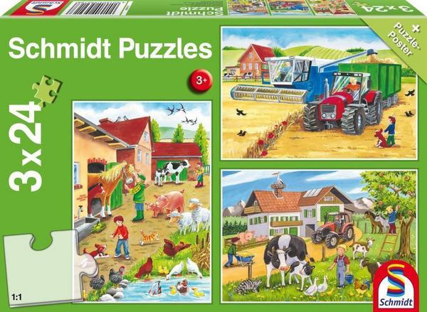Auf dem Bauernhof, Puzzle, 3 x 24 Teile