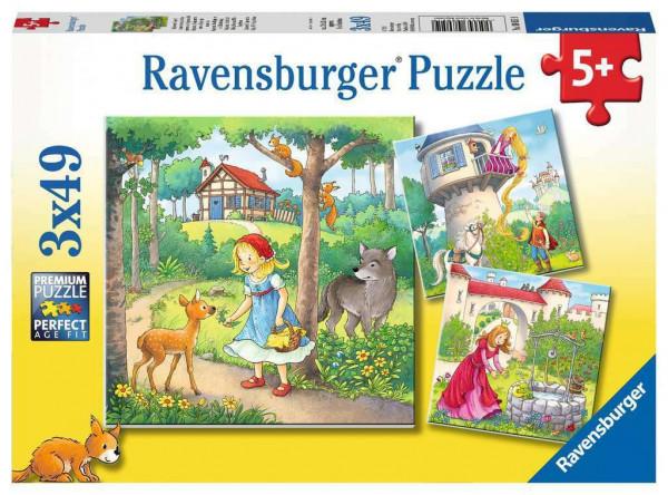 Rapunzel, Rotkäppchen und der Froschkönig, Puzzle, 3 x 49 Teile
