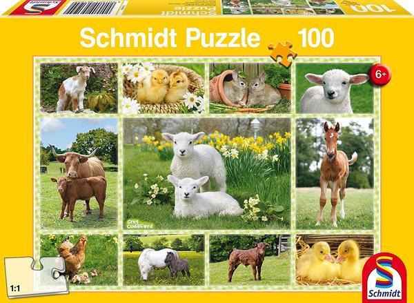 Tierkinder auf dem Bauernhof, Puzzle, 100 Teile