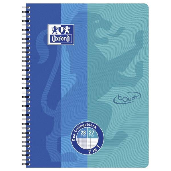 Oxford Collegeblock Touch 400101422, A4+ liniert + kariert, 90g 80 Blatt, 4-fach-Lochung
