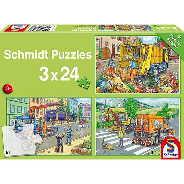 Abschleppauto, Kehrmaschine, Müllwagen, Puzzle 3 x 24 Teile