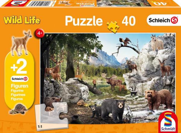 Die Tiere des Waldes, Puzzle 40 Teile inkl. 2 Schleich-Figuren
