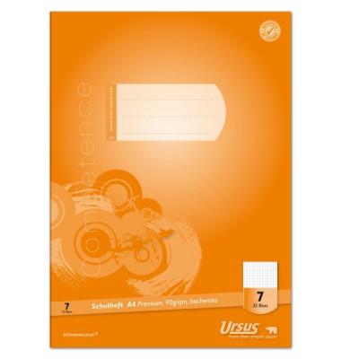 Ursus Schulheft Competence A4 Lineatur 7 kariert weiß 32 Blatt