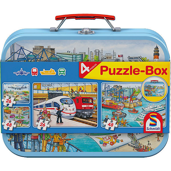Verkehrsmittel, Puzzlekoffer, je 2x 26 und 48 Teile