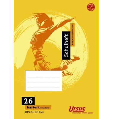 Ursus Schulheft Basic A4 Lineatur 26 kariert mit Rand weiß 32 Blatt