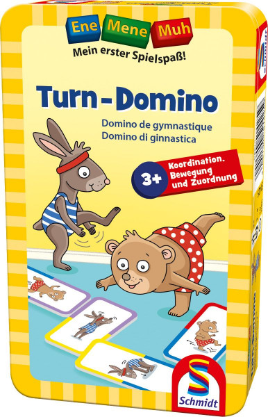 Ene Mene Muh. Turn-Domino. Mitbringspiel in Metalldose