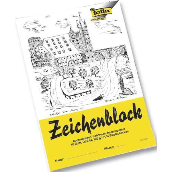 folia Zeichenblock A4 weiß blanko 10 Blatt - Einsteckecken