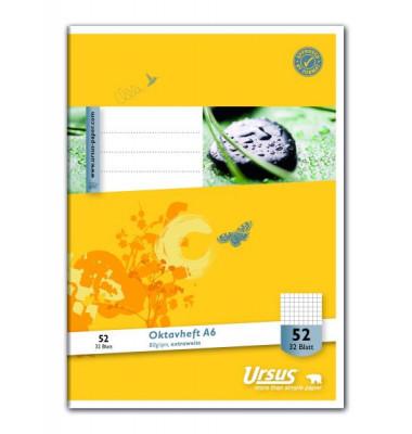 Ursus Oktavheft Basic A6 Lineatur 52 kariert weiß 32 Blatt
