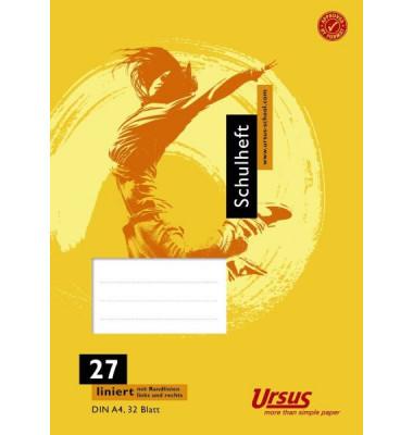 Ursus Schulheft Basic A4 Lineatur 27 liniert mit Doppelrand weiß 32 Blatt