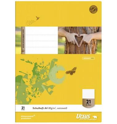 Ursus Schulheft Basic A4 Lineatur 21 liniert weiß 32 Blatt